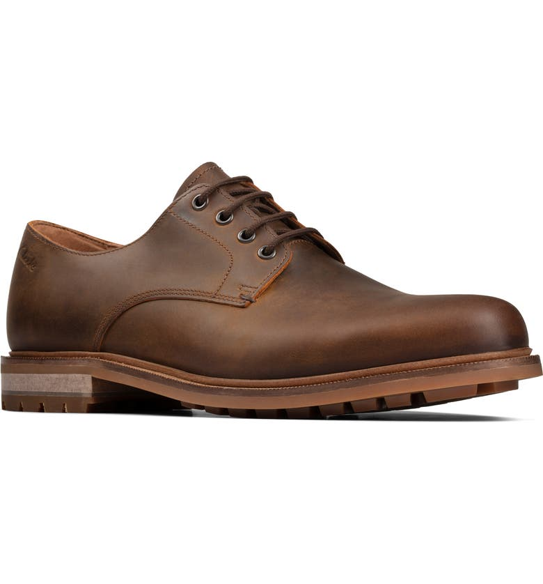 CLARKS<SUP>®</SUP> Foxwell Hall Plain Toe Derby, Main, color, BEESWAX LEATHER
