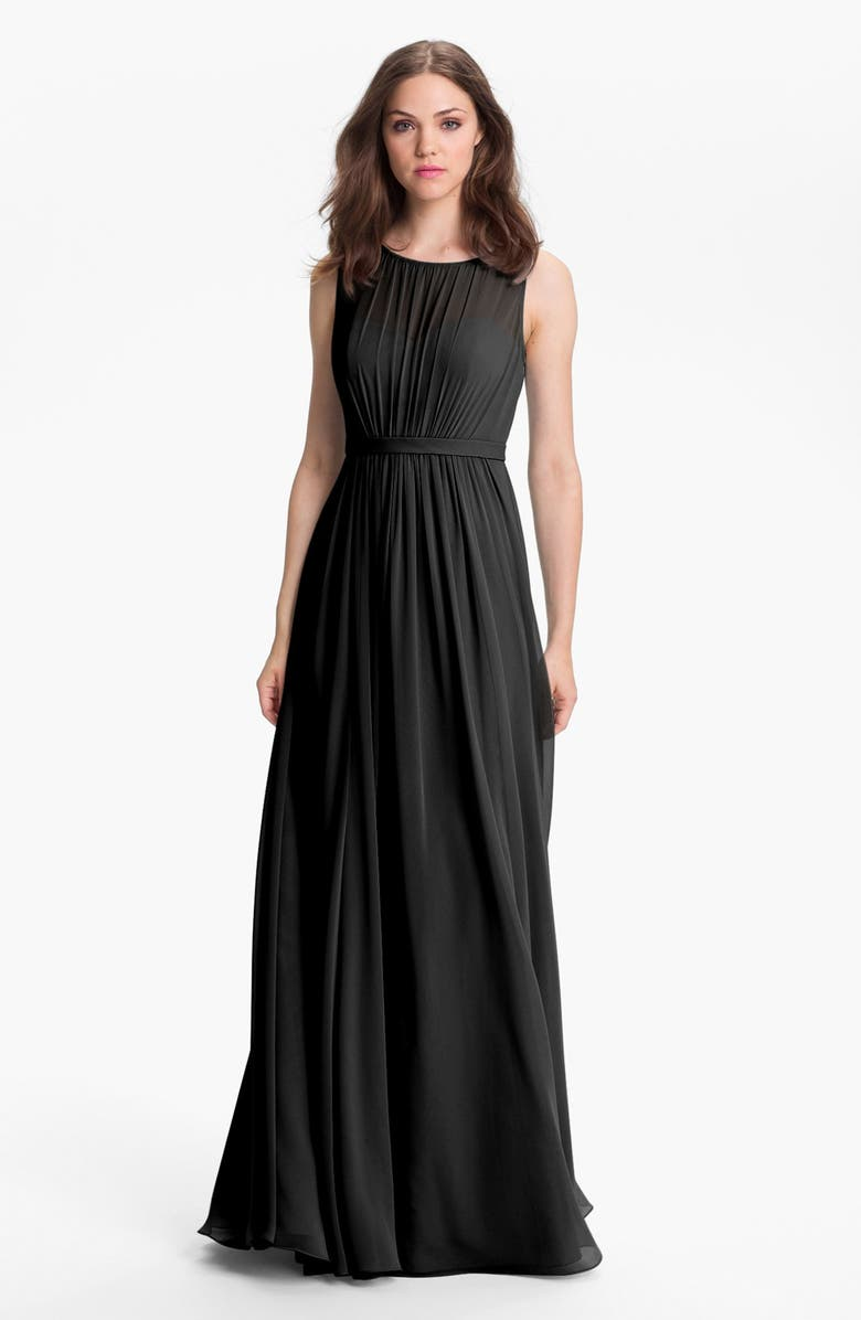 JENNY YOO Vivienne Pleated Chiffon Gown, Main, color, 001