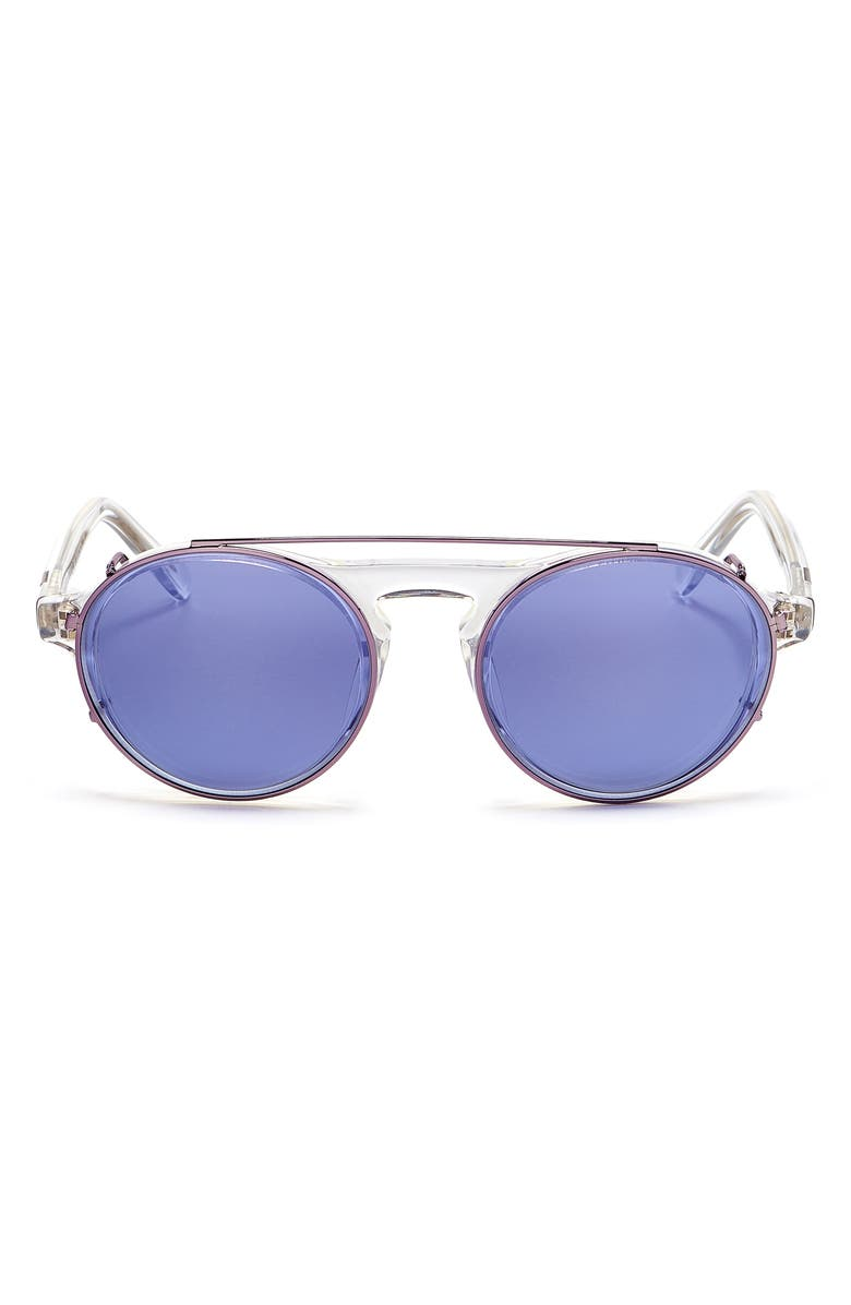 WESTWARD LEANING 'Dyad' 48mm Sunglasses with Clip-On Lenses, Main, color, CRYSTAL SHINY/ INDIGO