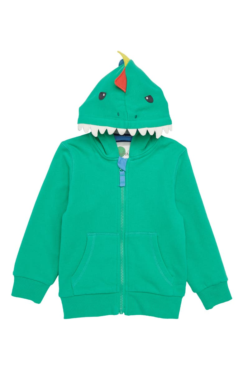 MINI BODEN 3D Dino Zip Hoodie, Main, color, 315