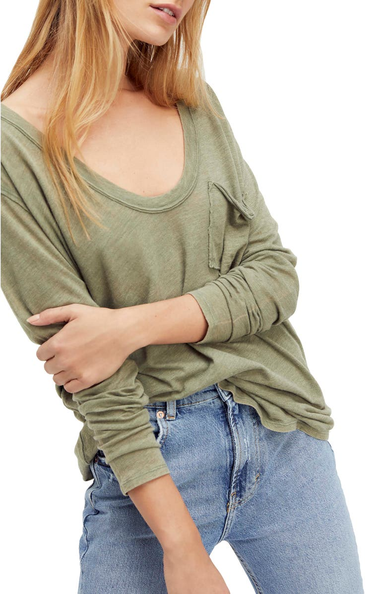 FREE PEOPLE Betty Long Sleeve Top, Main, color, FADED MILITARY