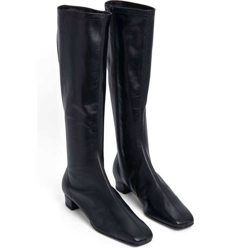 BY FAR Edie Knee High Boots, Main, color, BLACK