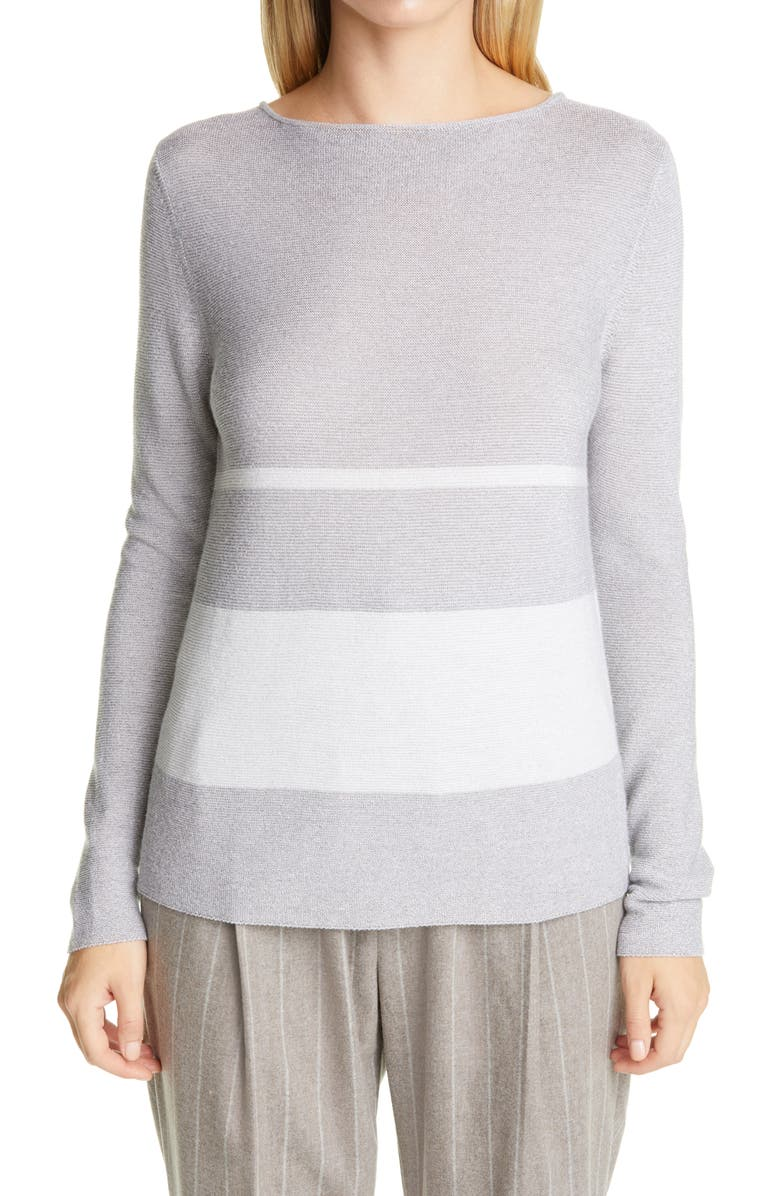 FABIANA FILIPPI Metallic Stripe Wool Blend Sweater, Main, color, GREY