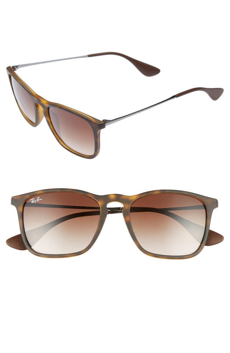 RAY-BAN Youngster 54mm Square Keyhole Sunglasses, Main, color, BROWN