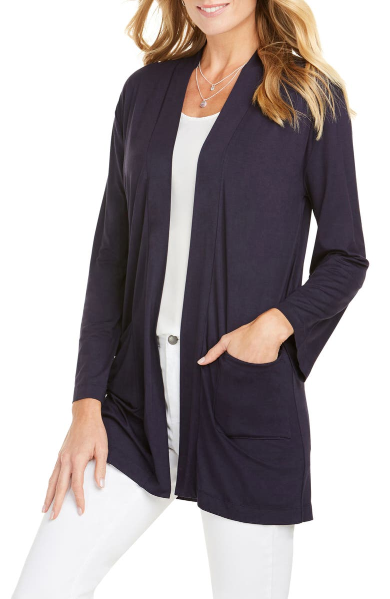 FOXCROFT Lessie Jersey Knit Open Front Cardigan, Main, color, NAVY