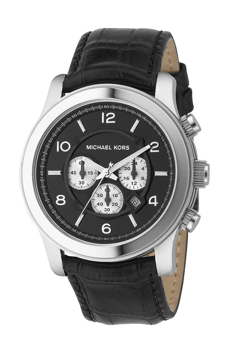 MICHAEL MICHAEL KORS Michael Kors 'Silvertone Oversize Iconic' Chronograph Watch, 45mm, Main, color, 001