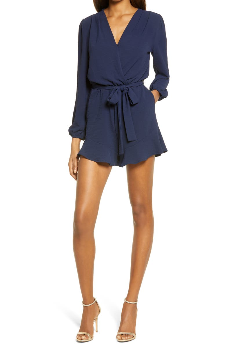 FRAICHE BY J Flaired Tie Waist Long Sleeve Romper, Main, color, NAVY
