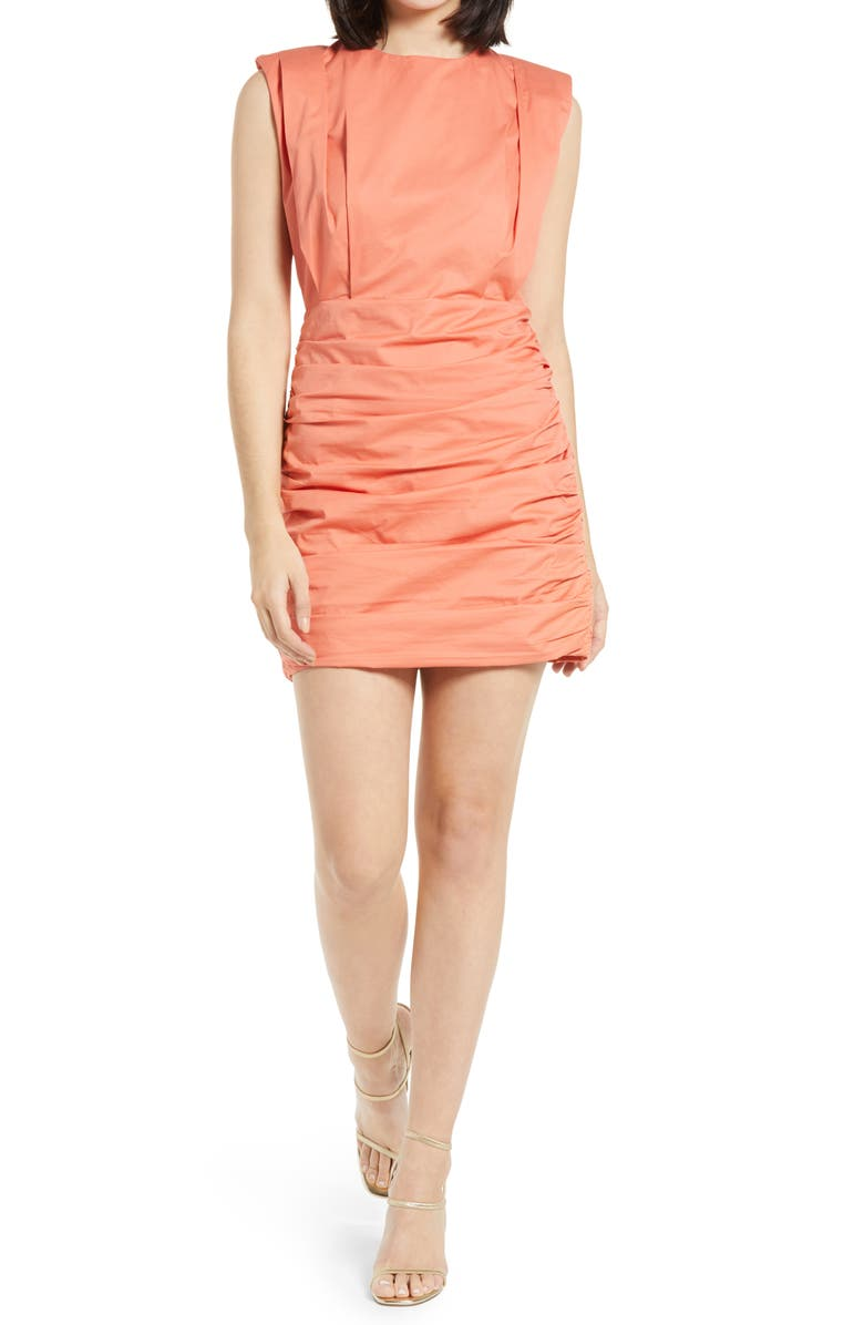 ENDLESS ROSE Pleated Shoulder Pad Dress, Main, color, SALMON