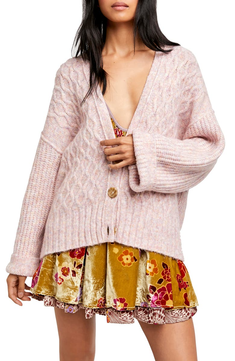 FREE PEOPLE Molly Cable Cardigan, Main, color, ANGEL FOOD CAKE