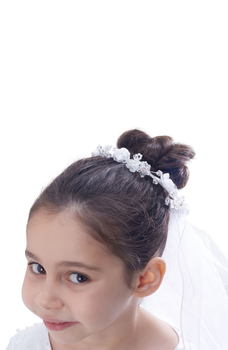 LAUREN MARIE Floral Bun Holder Crown & Veil, Main, color, 100