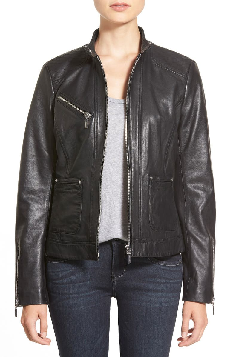 BERNARDO Zip Front Leather Jacket, Main, color, 001