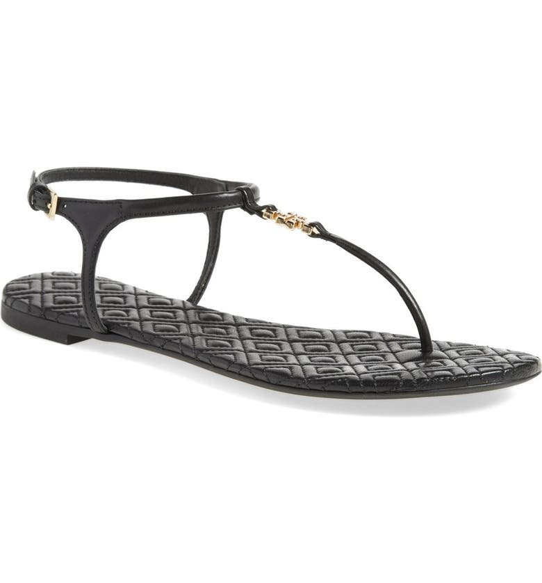 TORY BURCH 'Marion' Quilted Sandal, Main, color, BLACK LEATHER