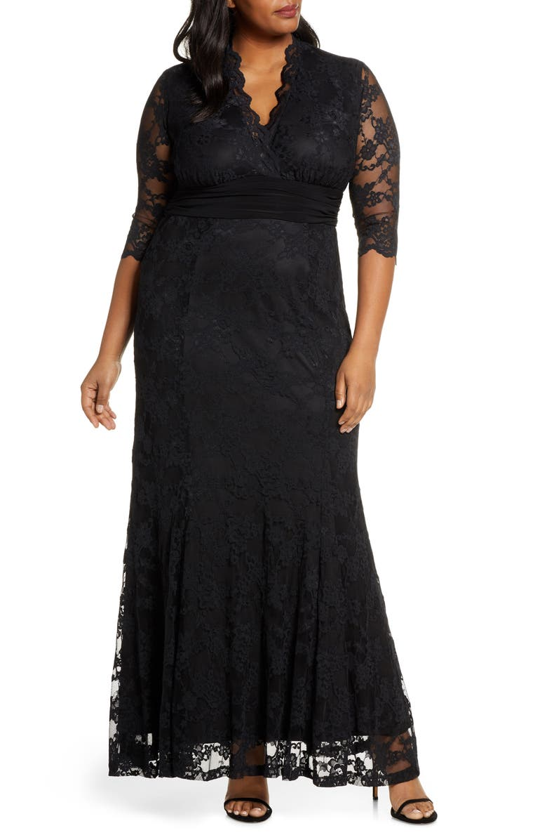 KIYONNA Screen Siren Lace Gown, Main, color, ONYX