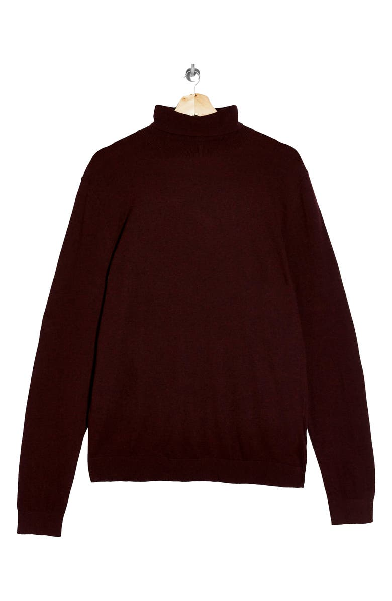 TOPMAN Solid Cotton Turtleneck Sweater, Main, color, BURGUNDY