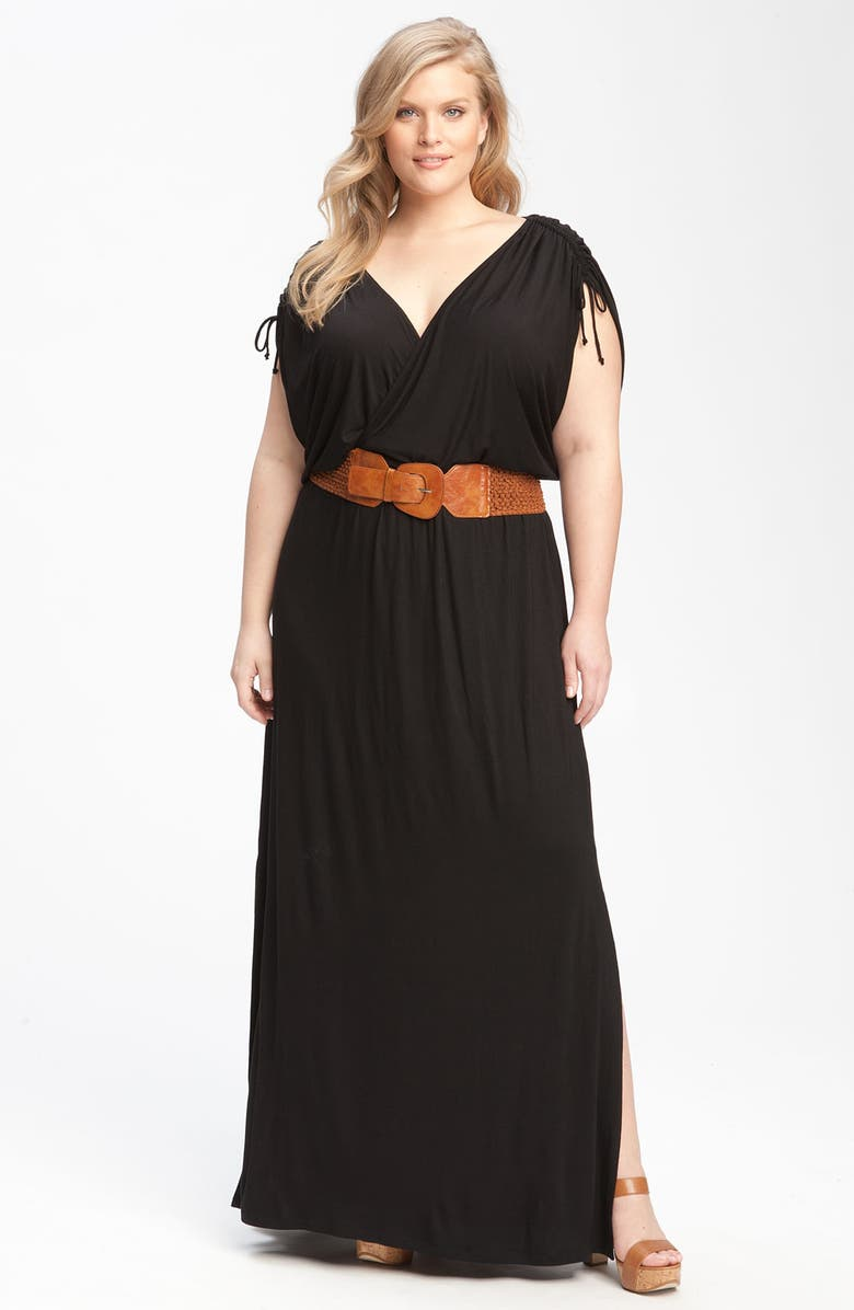REMAIN Belted Maxi Dress, Main, color, 001