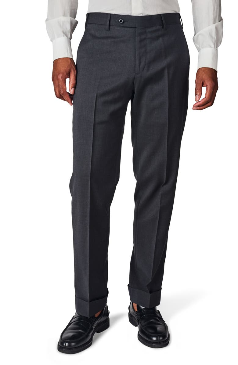 ZANELLA Parker Flat Front Solid Stretch Wool Trousers, Main, color, 021
