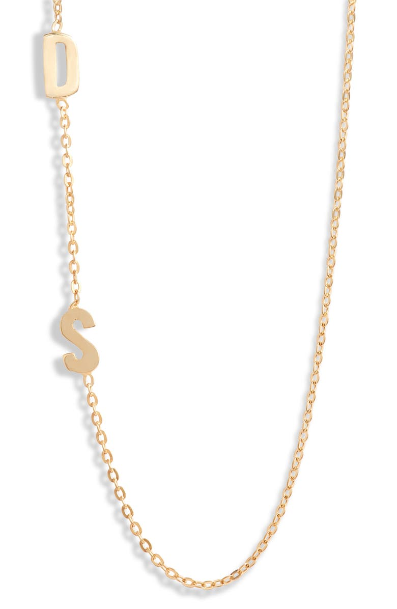 ARGENTO VIVO STERLING SILVER Argento Vivo Personalized Two Initial Necklace, Main, color, Gold