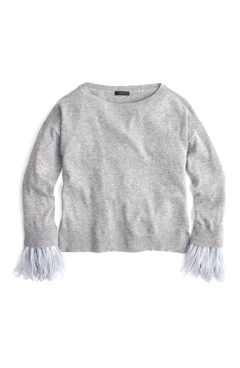 J.CREW Feather Sleeve Crewneck Sweater, Main, color, 020