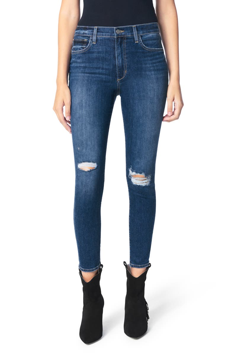JOE'S The Charlie High Waist Ripped Ankle Skinny Jeans, Main, color, 420
