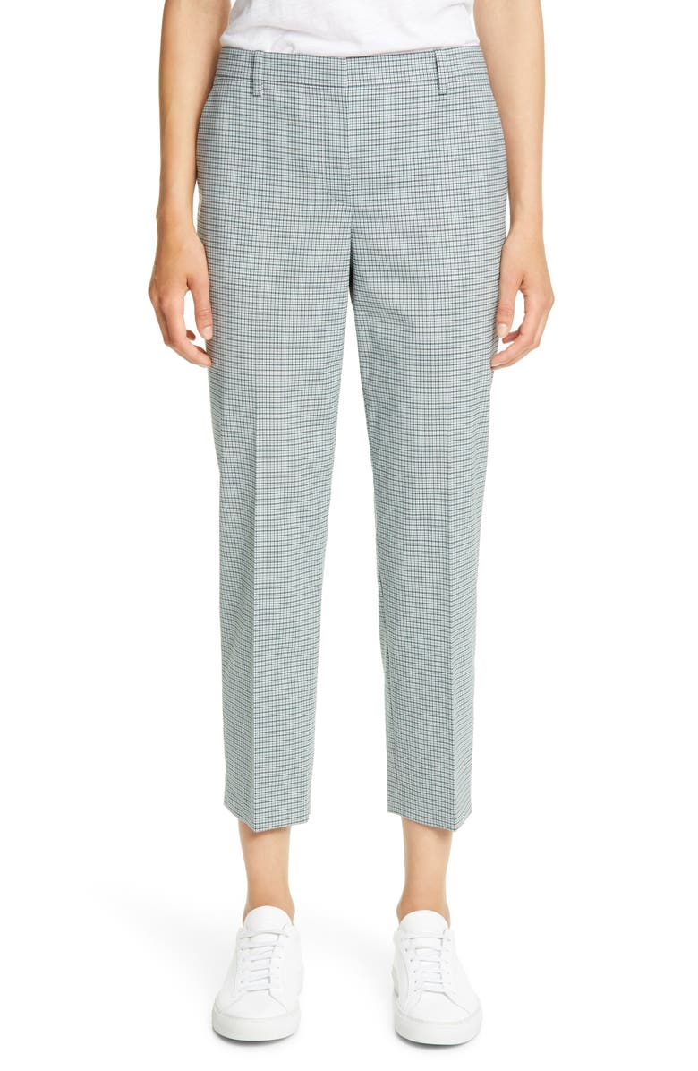 THEORY Treeca 4 Wool Blend Crop Trousers, Main, color, BLUE MULTI
