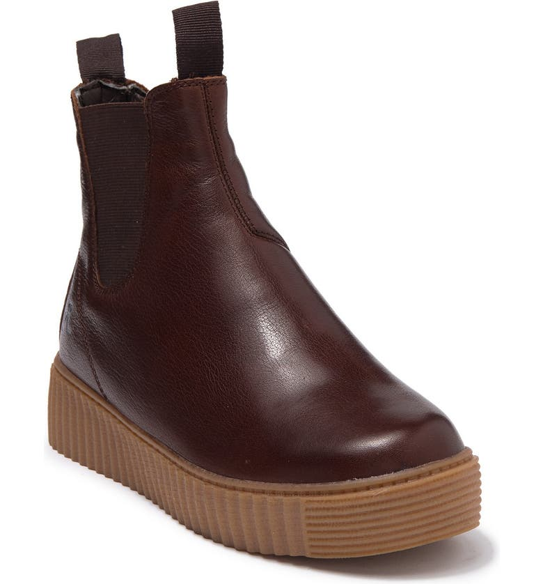 RELIGIOUS COMFORT Bubba Run Faux Shearling Lined Platform Chelsea Boot, Main, color, BROWN LEATHER