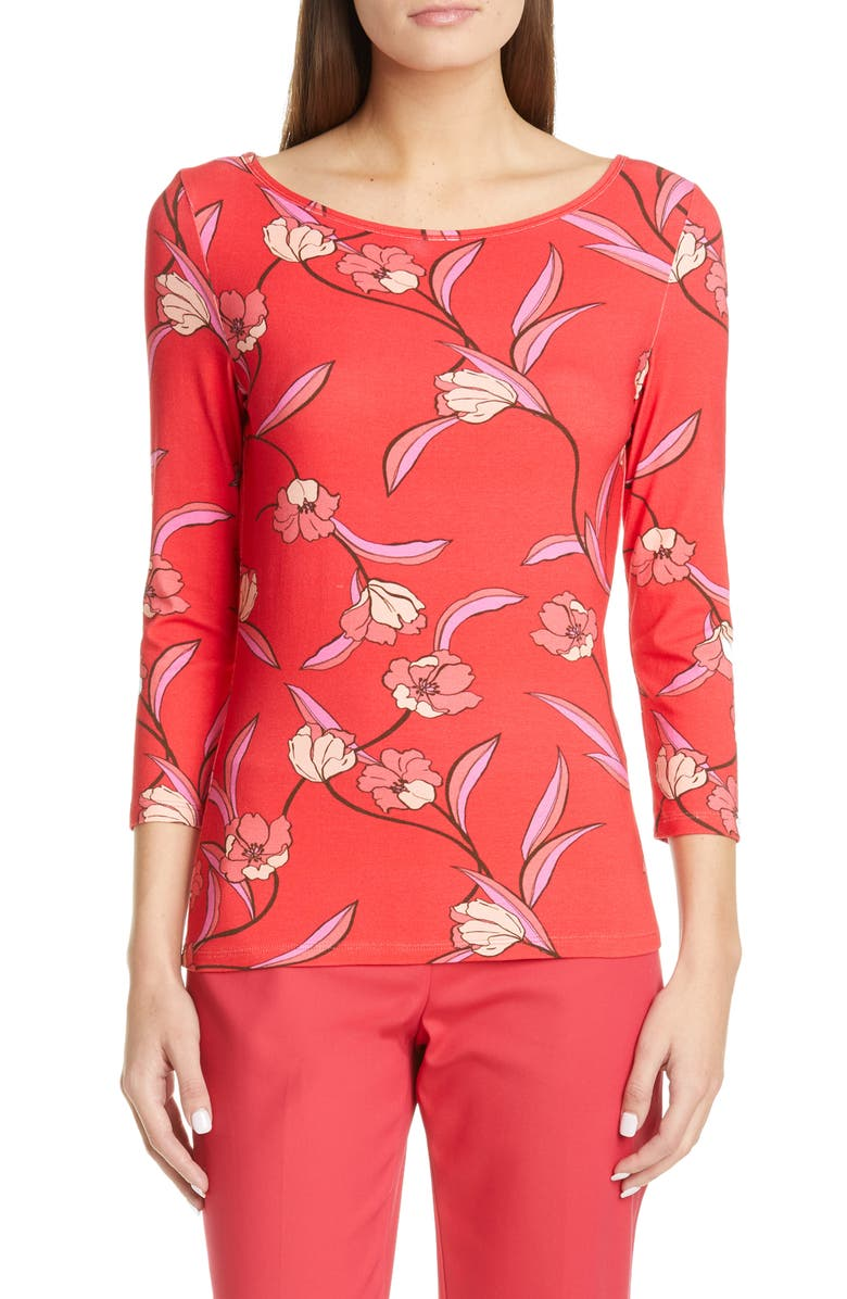 ST. JOHN COLLECTION Spring Floral Jersey Top, Main, color, 600