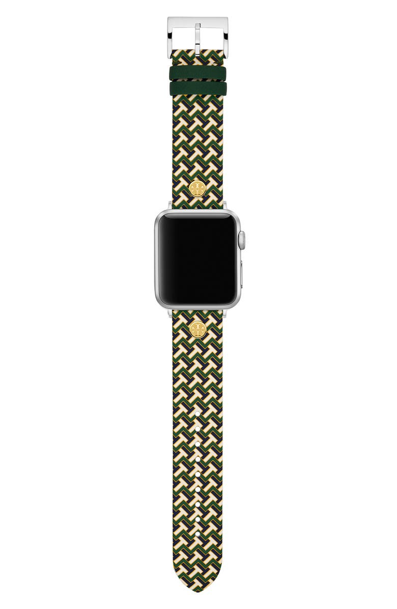TORY BURCH T-Zag Leather Strap for Apple Watch<sup>®</sup>, 38mm/40mm, Main, color, 300