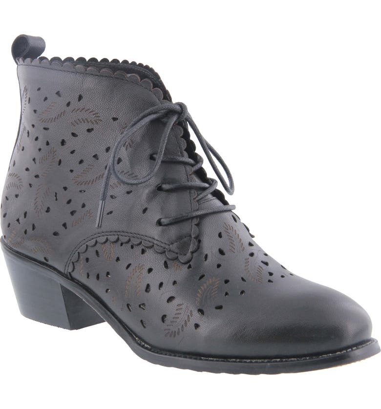 SPRING STEP Giana Bootie, Main, color, BLACK LEATHER
