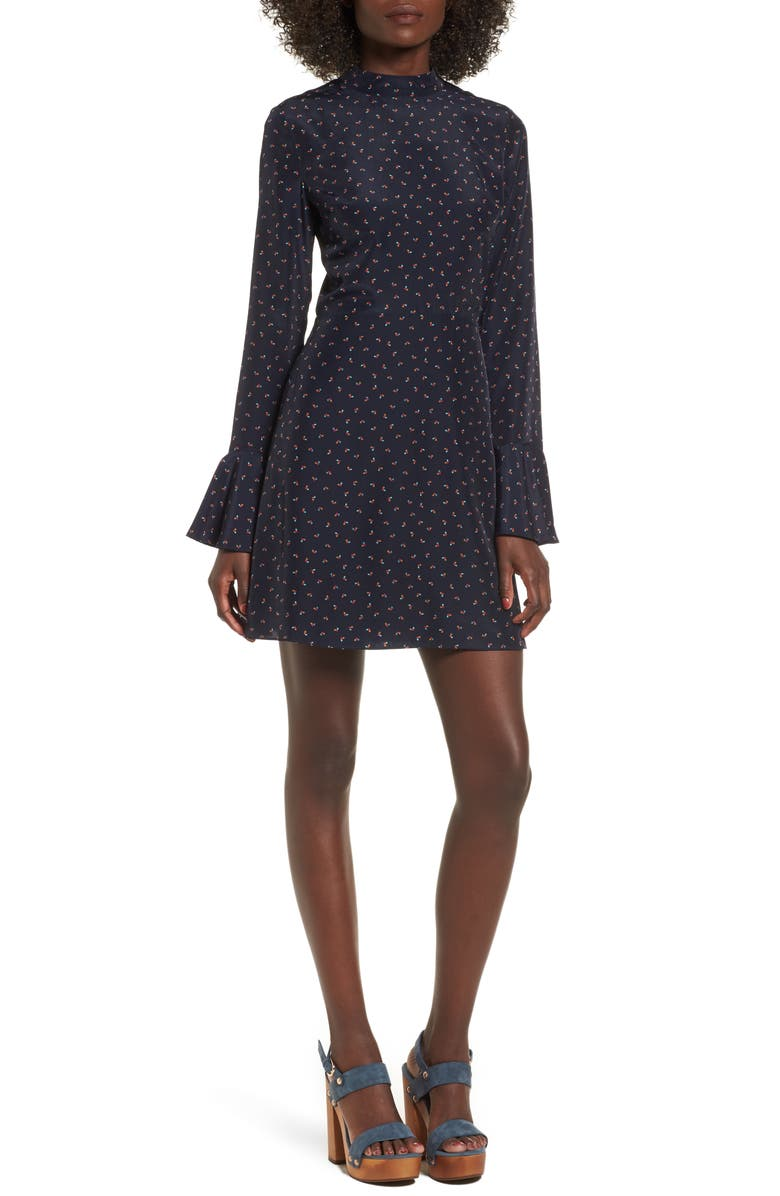 J.O.A. High Neck Fit & Flare Dress, Main, color, 400