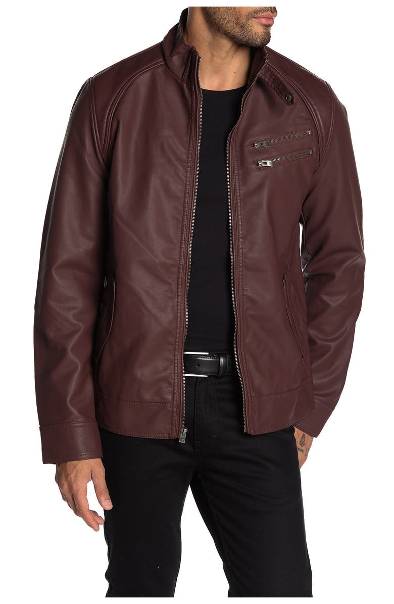 XRAY Faux Leather Jacket, Main, color, BURGUNDY