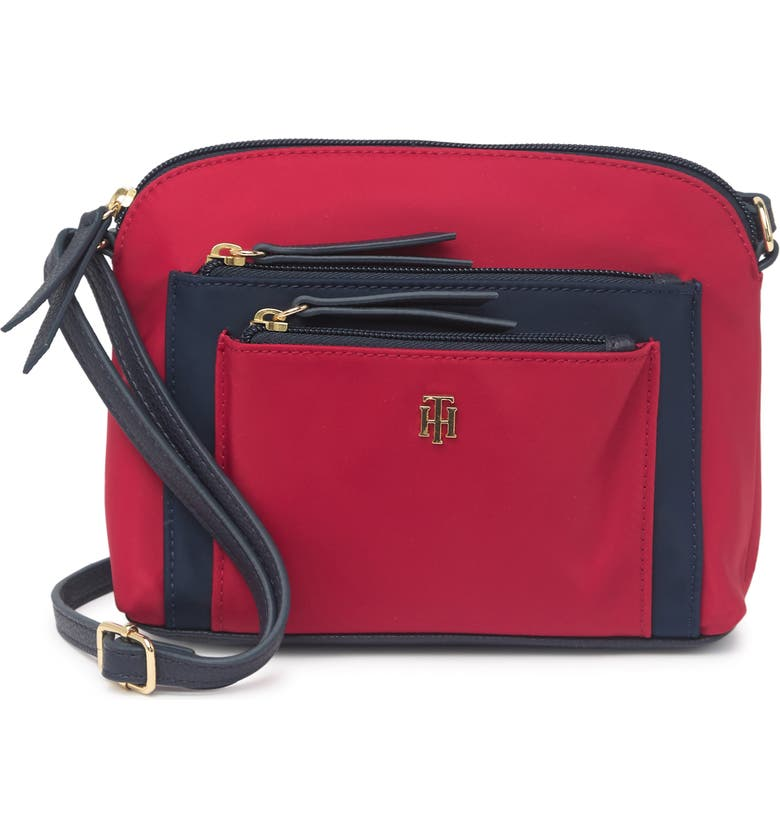 TOMMY HILFIGER Irina II Dome Crossbody Bag, Main, color, TOMMY RED