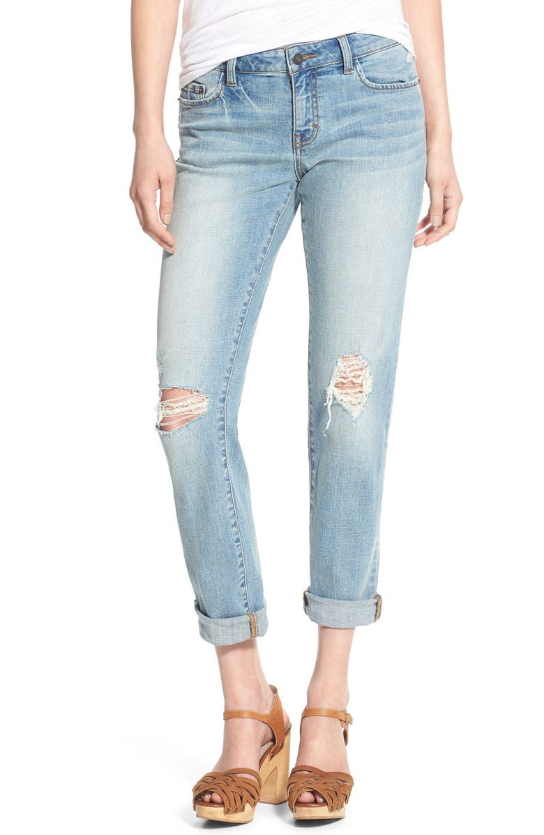 SUN & SHADOW Distressed Girlfriend Jeans, Main, color, 450