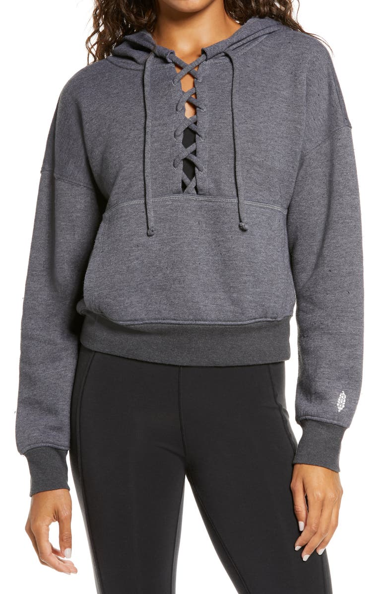 FREE PEOPLE FP MOVEMENT Believe It Lace-Up Hoodie, Main, color, Black