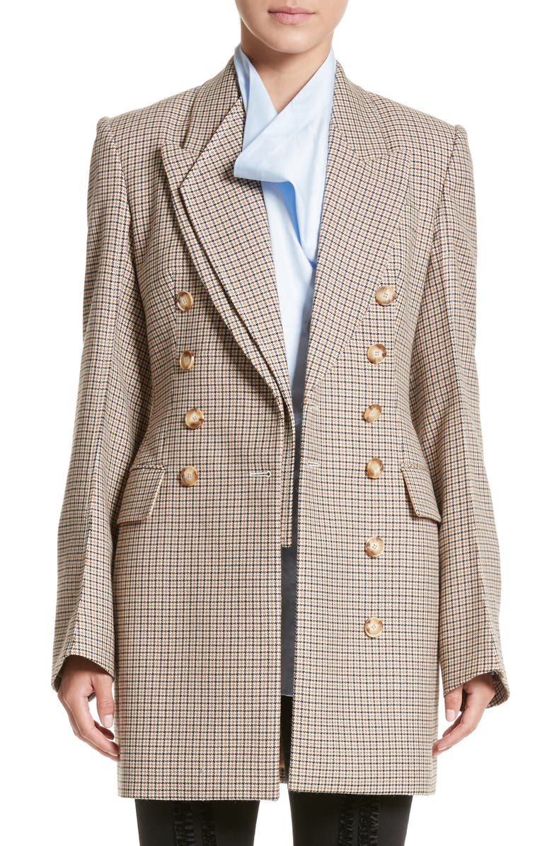 STELLA MCCARTNEY Check Wool Double Breasted Jacket, Main, color, 250