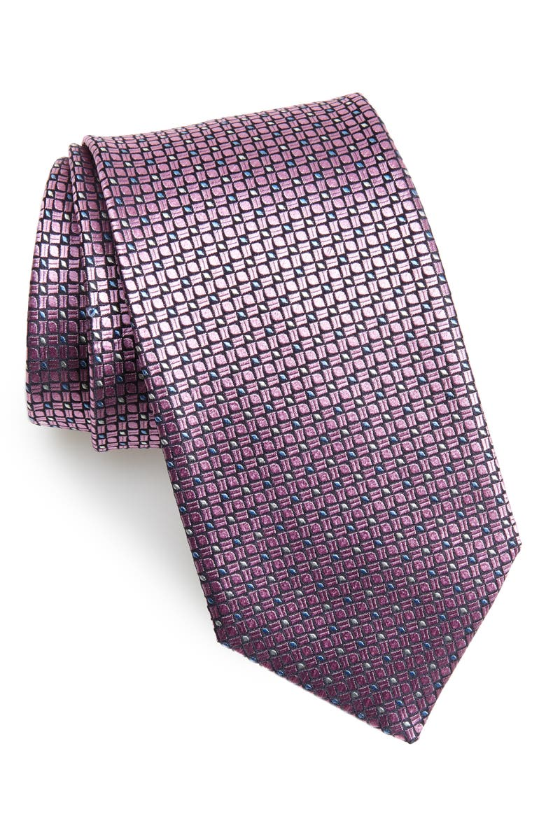 CANALI Neat Silk Tie, Main, color, 650