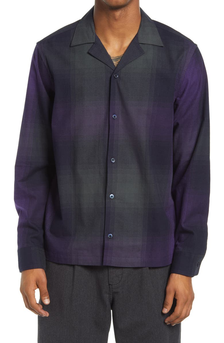 SATURDAYS NYC Marco Plaid Flannel Men's Button-Up Shirt, Main, color, AMETHYST