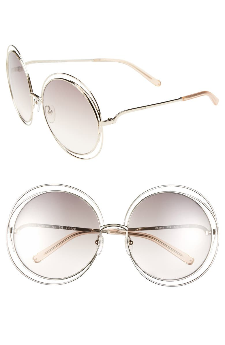 CHLOÉ 62mm Oversize Sunglasses, Main, color, 710
