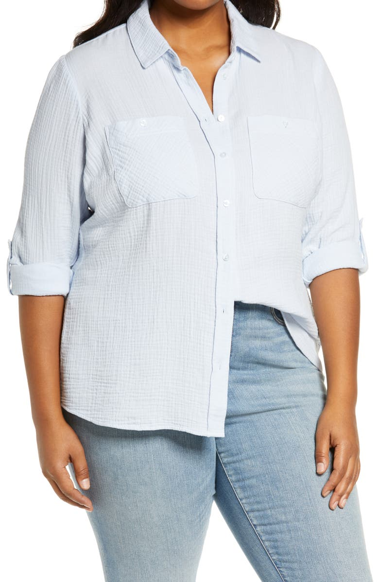 1.STATE Double Gauze Shirt, Main, color, OPAL WATERS
