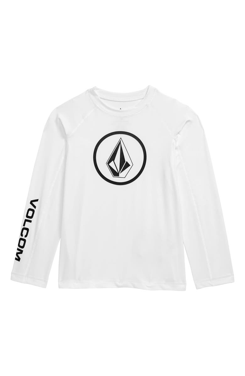 VOLCOM Lido Long Sleeve Rashguard, Main, color, WHITE