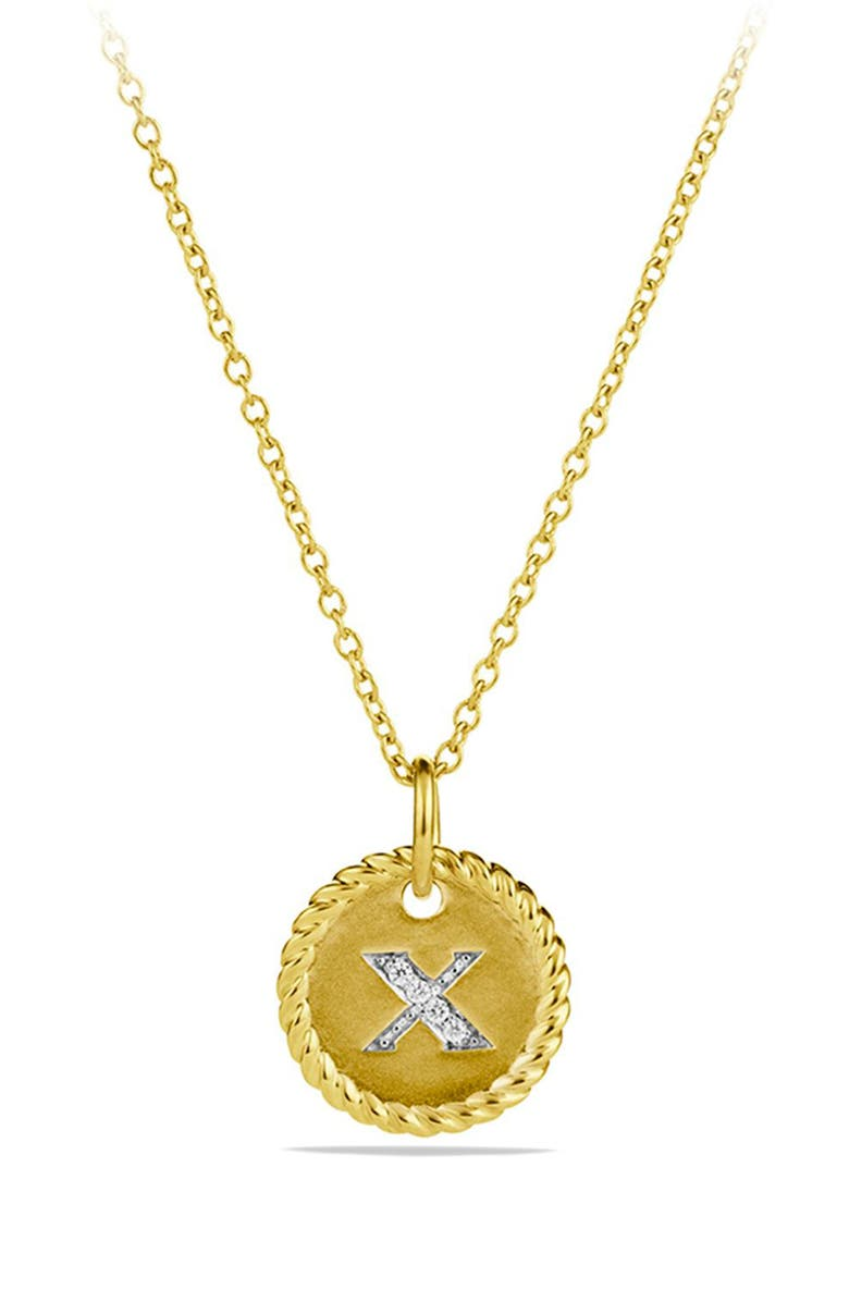 DAVID YURMAN Cable Collectibles Initial Pendant with Diamonds in Gold on Chain, Main, color, X