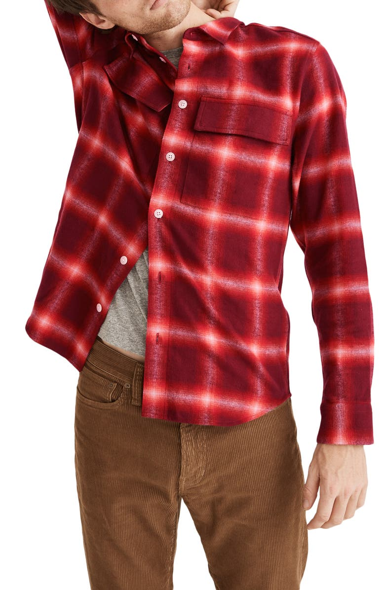 MADEWELL Perdido Plaid Flannel Perfect Shirt, Main, color, RED GLOW