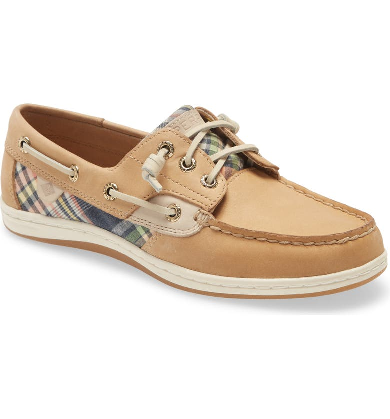 SPERRY Songfish Boat Shoe, Main, color, TAN / KICK BACK PLAID FABRIC