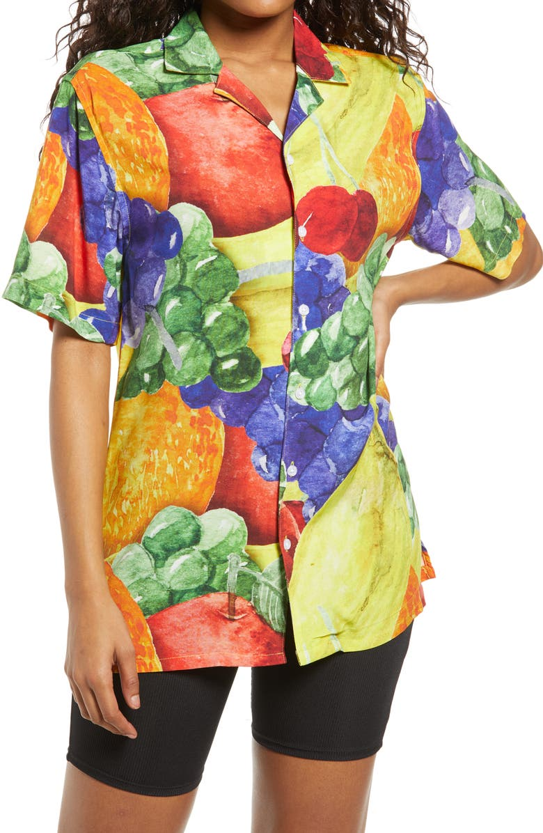 PETALS AND PEACOCKS Treat Yourself Vacation Camp Shirt, Main, color, MULTI