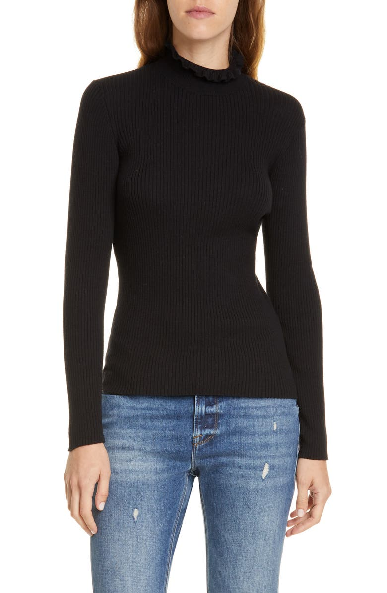 FRAME Ruffle Neck Sweater, Main, color, 001