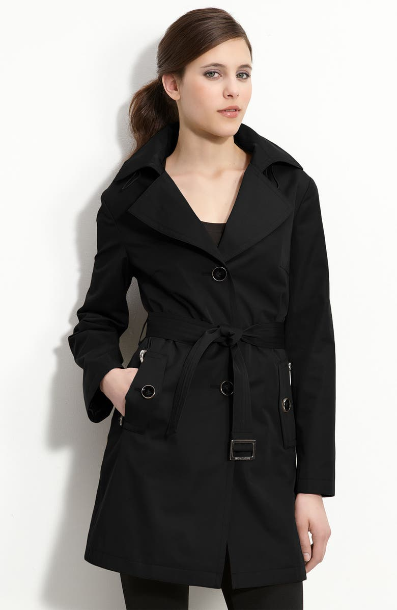 MICHAEL MICHAEL KORS Single Breasted Trench, Main, color, Black