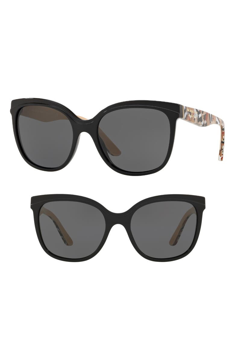 BURBERRY Marblecheck 55mm Square Sunglasses, Main, color, BLACK SOLID