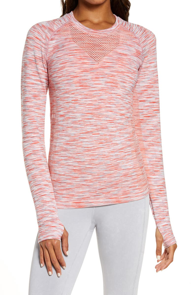 ZELLA Space Dye Seamless T-Shirt, Main, color, RED HIBISCUS SPACEDYE