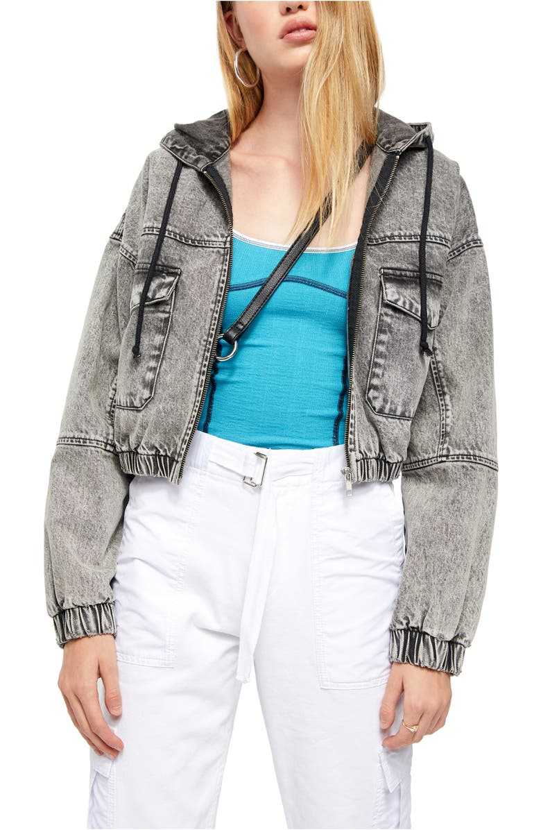BDG URBAN OUTFITTERS Hooded Crop Denim Jacket, Main, color, 001