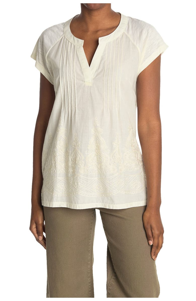 FORGOTTEN GRACE Pintuck Pleat Embroidered Tunic, Main, color, NATURAL