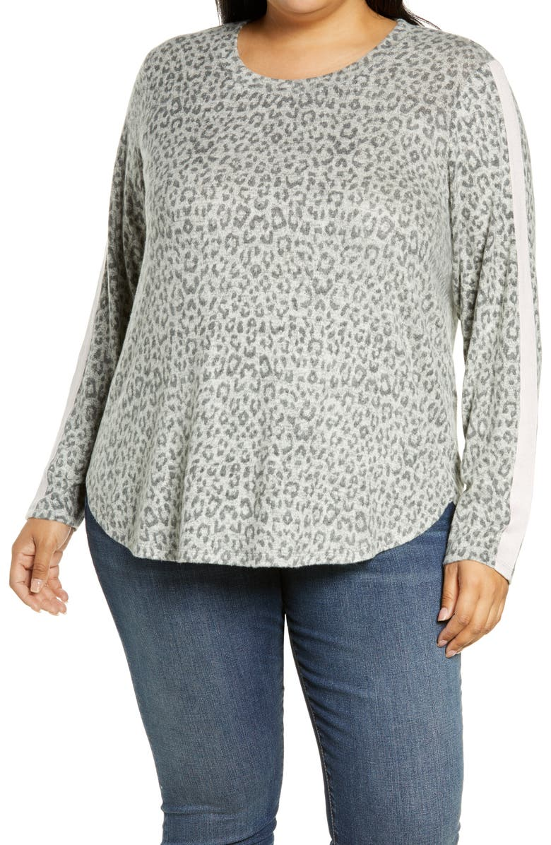 BOBEAU Cozy Athletic Tape Pullover, Main, color, HEATHER GREY LEOPARD